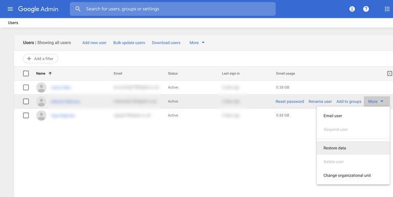 بازیابی ایمیلحذف شده ازبرنامههای تجاری G Suite